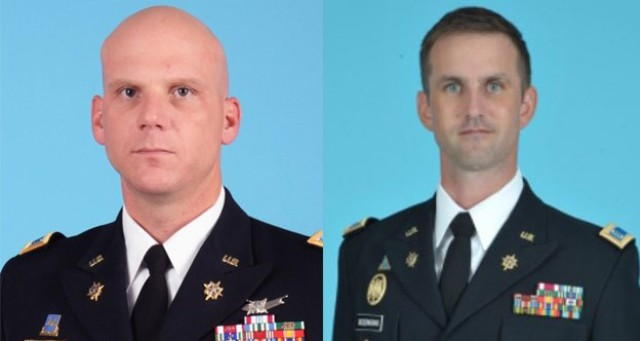Chief Warrant Officer 4 (CW4) Sean M. Moore (left) and Chief Warrant Officer 3 (CW3) Dane Rosenkrans recently completed their rotation at the C5ISR Center and were awarded the Meritorious Service Medal for their immense contributions to the Army while at the Center. (U.S. Army photos)