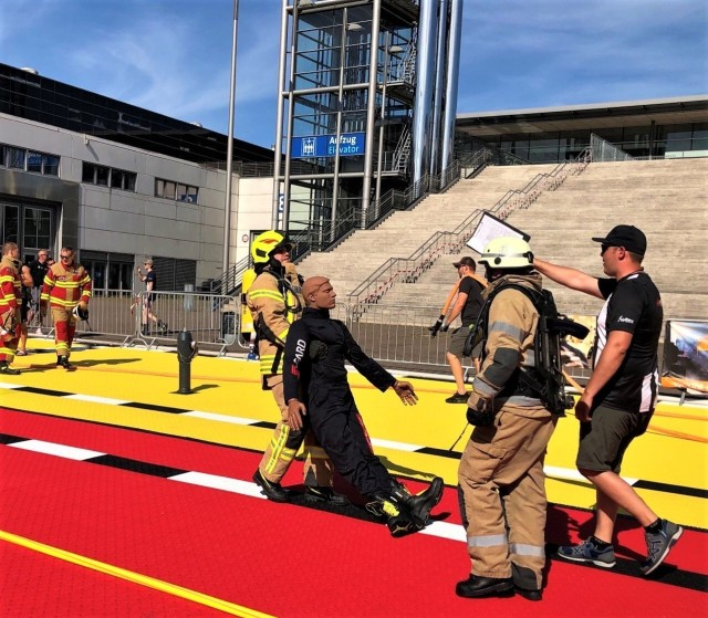 Four U.S. Army Garrison Ansbach firefighters from the Katterbach and Illesheim fire stations participated in the qualifying run for the Firefit Europe Challenge in Hannover, Germany, for the first time June 14, 2021.