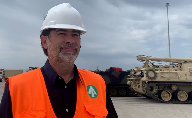 Mr. Michael Pittas, Terminal Manager (US Army) Transportation Corps, Eastern Mediterranean Detachment (Greece), supervises the discharge and staging of Army equipment at the port in Alexandroupoli, Greece.