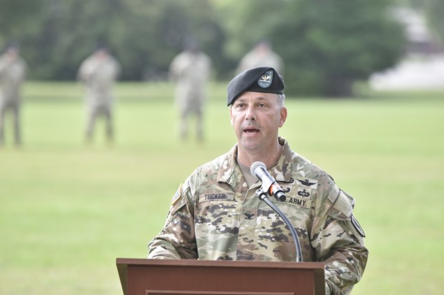 U.S. Army Col. Richard P. Tucker speaks during the 1st Aviation Brigade change of command ceremony at Fort Rucker, Alabama, June 18, 2021. (U.S. Army photo by Lt. Col. Andy Thaggard)