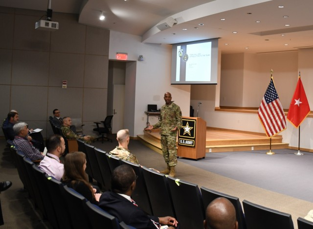BG Jeth Rey speaks at an introductory town hall with the Network CFT workforce at Aberdeen Proving Ground, Md., on June 21, 2021. Rey said he is looking forward to hearing feedback from the operational force to improve the future network. (U.S. Army photo)