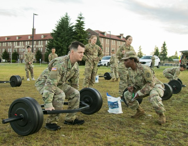 First Lt. Daniel Stephens, a medical surgical nurse with Madigan Army Medical Center, completes the deadlift portion of the Army Combat Fitness Test as part of the Regional Health Command - Pacific best leader competition, at Joint Base Lewis-McChord, Wash., June 16, 2021. The second full day of this four-day challenge also included land navigation exercises in addition to constructing individual fighting positions. (U.S. Army photo by Spc. Richard Carlisi, I Corps Public Affairs)