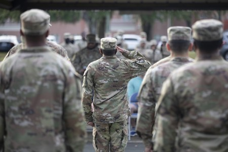 Soldiers with the 603rd Aviation Support Battalion participate in a drill and ceremony competition at Hunter Army Airfield, Ga., June 4, 2021.
