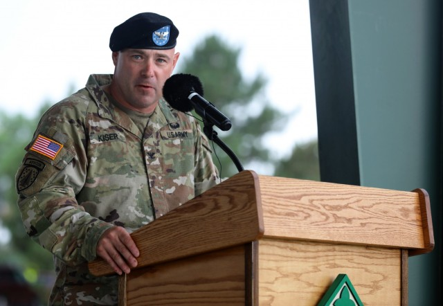 Col. Andrew Kiser, commander of 2nd Stryker Brigade Combat Team, 4th Infantry Division, addresses the Soldiers of 2SBCT, 4th Inf. Div. during a change of command ceremony June 25, 2021 at Fort Carson, Colo. The change of command ceremony is a time-honored tradition in which the outgoing commander formally transfers their authority to the incoming commander. (U.S. Army photo by Sgt. Gabrielle Pena)