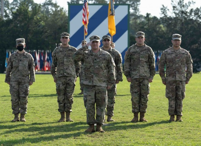 Lt. Col. Daniel G. Hodermarsky, the newly christened commander of the 3rd Battalion, 67th Armored Regiment, 2nd Armored Brigade Combat Team, salutes the reviewing officer, Col. Terry R. Tillis, commander of the 2nd ABCT, 3rd ID, during a change of command ceremony at Cottrell Field on Fort Stewart, Georgia, June 16, 2021. (U.S Army Photo by Spc. Devron Bost)
