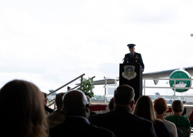 U.S. Air Force Col. David A. Fazenbaker, 62nd Airlift Wing commander, addresses the wing during the change of command ceremony at Joint Base Lewis-McChord, Washington, June 15, 2021. Prior to taking over the 62nd AW, Fazenbaker was the 14th Flying Training Wing vice commander at Columbus Air Force Base, Mississippi. (U.S. Air Force photo by Senior Airman Zoe Thacker)