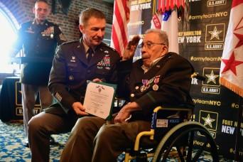U.S. ARMY AWARDS PURPLE HEART TO 99-YEAR-OLD WORLD WAR II VETERAN AT FORT HAMILTON