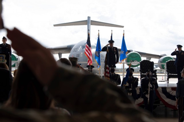 U.S. Air Force Maj. Gen. Kenneth T. Bibb Jr., 18th Air Force commander, presides over the 62nd Airlift Wing's change of command ceremony at Joint Base Lewis-McChord, Washington, June 15, 2021. The 62nd AW's mission is to execute global airlift, prepare for the demands of multi-domain operations in near-peer contested environments, and continually ensure force development. (U.S. Air Force photo by Senior Airman Zoe Thacker)