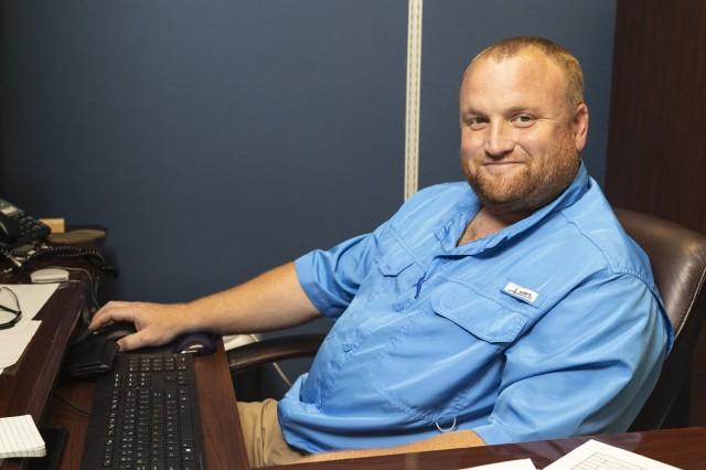 Joshua Gann, who began his career at Anniston Army Depot in the Co-Op program, now serves as a production controller through the Upward Mobility Program.