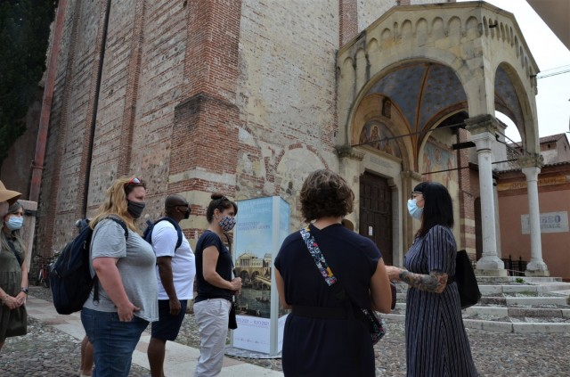 VICENZA, Italy - American newcomers discover Bassano del Grappa and see the monuments of Piazza Garibaldi, one of its squares during