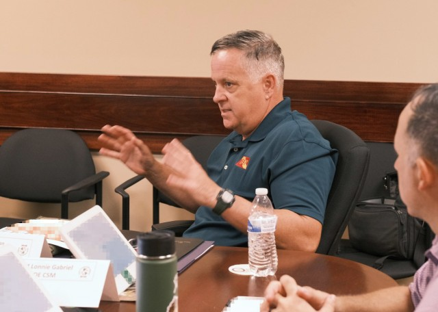 Gene Sullivan, Deputy Chief of Operations, 597th Transportation Brigade, conducts a briefing on the topic of brigade operations to battalion commanders at Joint Base Langley-Eustis, Va. June 22.