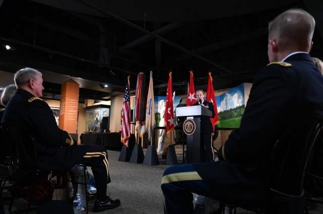 Brig. Gen. Michelle K. Donahue, 56th Quartermaster General, speaks at a promotion ceremony June 21 at the Army Women's Museum at Fort Lee.