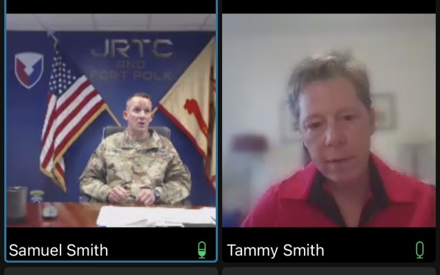 Col. Samuel P. Smith Jr., left, garrison commander of Fort Polk, La., and retired Maj. Gen. Tammy Smith participate in a lesbian, gay, bisexual, transgender and queer panel discussion June 24, 2021.