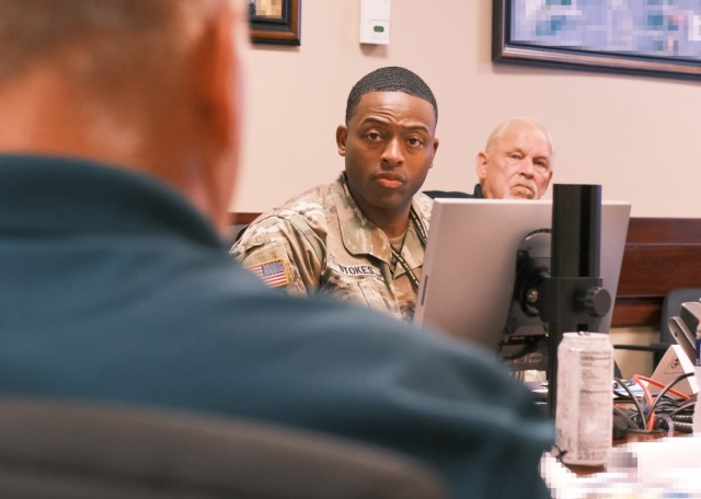 Sgt. Maj. Deanton Stokes, 841st Transportation Bn., actively participates in a leader orientation briefing by asking questions at the 597th Transportation Bde. headquarters at Joint Base Langley-Eustis, Va. June 22.
