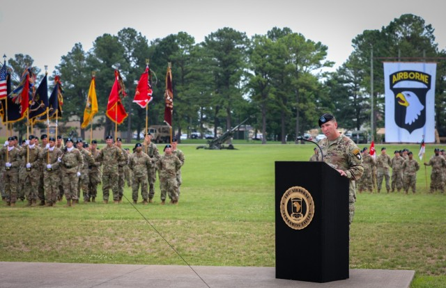 Col. Brandon Teague, outgoing commander of the 3rd Brigade Combat Team, 101st Airborne Division (Air Assault), speaks to the formation for the last time during a change of command ceremony on Fort Campbell, KY June 18, 2021.  Teague transferred command to Col. Mark Federovich, the incoming commander. (U.S. Army photo by: Staff Sgt. Michael Eaddy)