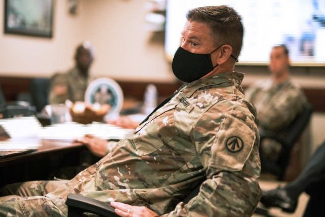 Lt. Col. Tyler Olsen, commander, 842nd Transportation Bn. participates in a leader orientation briefing at the 597th Transportation Brigade headquarters at Joint Base Langley-Eustis, Va. June 22.