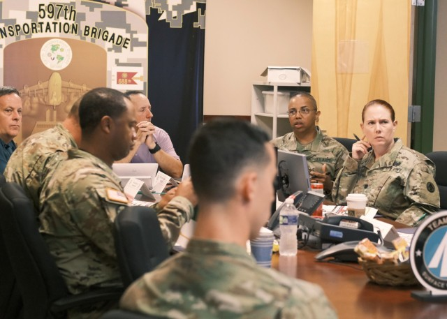 Brigade operations staff assigned to the Operations Section at the 597th Transportation Brigade provide guidance and share their knowledge and experience of brigade operations with incoming battalion command teams during a leader orientation at Joint Base Langley-Eustis, Va. June 22.
