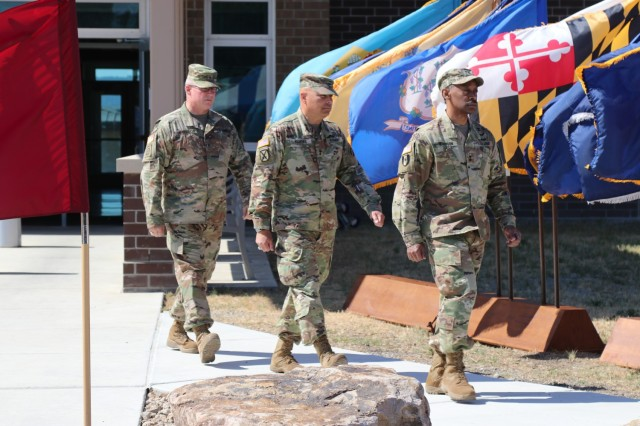 Left to right, Brig. Gen. Joseph Marsiglia, commanding general, Army Reserve Medical Readiness and Training Command, Maj. Gen. Alberto Rosende, commanding general, 63rd Readiness Division and Maj. Gen. Jonathan Woodson, commanding general, Army Reserve Medical Command, march during the Spc. Jameson L. Lindskog U.S. Army Reserve Center memorialization ceremony June 29, 2021 at Parks Reserve Forces Training Area in Dublin, Calif. Lindskog, a resident of Pleasanton, Calif., was killed in action March 29, 2011 while serving as a combat medic with the 2nd Battalion, 327th Infantry Regiment, 1st Brigade Combat Team, 101st Airborne Division in Afghanistan. He posthumously received the Silver Star for his heroic actions that day. (Photo by Sgt. 1st Class Matthew Chlosta)