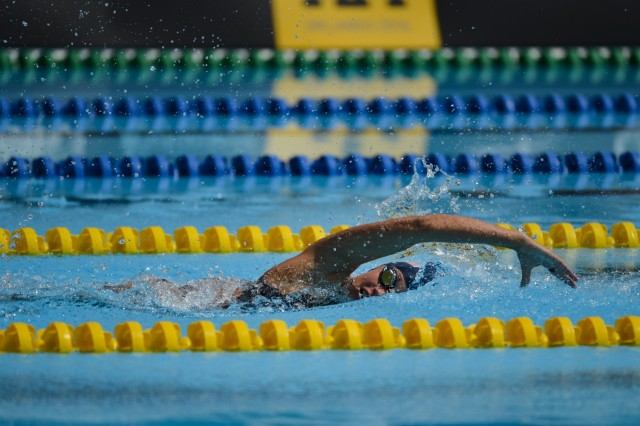 U.S. Army Sgt. Elizabeth Marks swims the 100-meter freestyle at Invictus Games 2016, Orlando, Fla., May 11, 2016. The Invictus Games are composed of 14 nations with over 500 military competitors competing in 10 sporting events May 8-12, 2016.