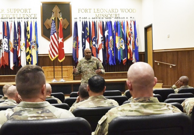 Lt. Gen. Leslie Smith, Army Inspector General, speaks with Fort Leonard Wood senior leaders during a professional development event June 24 at Lincoln Hall Auditorium. Smith visited the installation last week to host listening sessions and professional development events, and visit with key garrison and Maneuver Support Center of Excellence leaders.