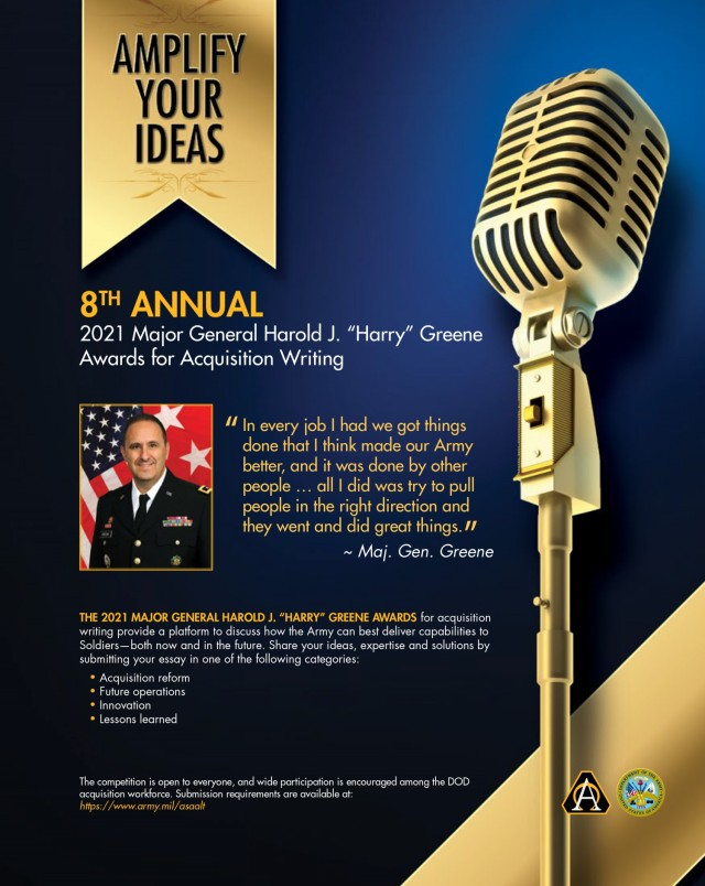 """8th Annual 2021 Major General Harold J. """"Harry"""" Greene Awards for Acquisition Writing Ad"""