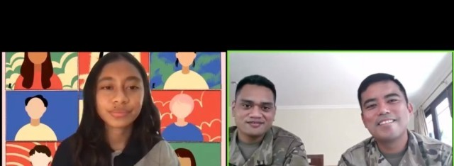 Maj. Melvin Cabebe and Sgt. Joshua Fale, members of the 9th Mission Support Command's Task Force Oceania Pacific Augmentation Team assigned to Timor-Leste, engage with a student volunteer as part of a live-streamed virtual event with UmaAmerika at the Universidade Nacional Timor Lorosa'e. Cabebe and Fale shared stories about their experiences in the U.S. military and spoke about their Filipino and Pacific Island heritages respectively.