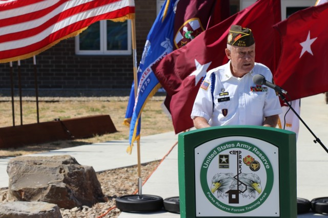 Mr. Doug Miller, the master of ceremony, speaks during the Spc. Jameson L. Lindskog U.S. Army Reserve Center memorialization ceremony June 29, 2021 at Parks Reserve Forces Training Area in Dublin, Calif. Lindskog, a resident of Pleasanton, Calif., was killed in action March 29, 2011 while serving as a combat medic with the 2nd Battalion, 327th Infantry Regiment, 1st Brigade Combat Team, 101st Airborne Division in Afghanistan. He posthumously received the Silver Star for his heroic actions that day. (Photo by Sgt. 1st Class Matthew Chlosta)