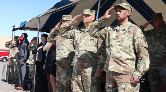 Left to right, Brig. Gen. Joseph Marsiglia, commanding general, Army Reserve Medical Readiness and Training Command, Maj. Gen. Alberto Rosende, commanding general, 63rd Readiness Division and Maj. Gen. Jonathan Woodson, commanding general, Army Reserve Medical Command, salute during the Spc. Jameson L. Lindskog U.S. Army Reserve Center memorialization ceremony held June 29, 2021 at Parks Reserve Forces Training Area in Dublin, Calif. Lindskog, a resident of Pleasanton, Calif., was killed in action March 29, 2011 while serving as a combat medic with the 2nd Battalion, 327th Infantry Regiment, 1st Brigade Combat Team, 101st Airborne Division in Afghanistan. He posthumously received the Silver Star for his heroic actions that day. (Photo by Sgt. 1st Class Matthew Chlosta)