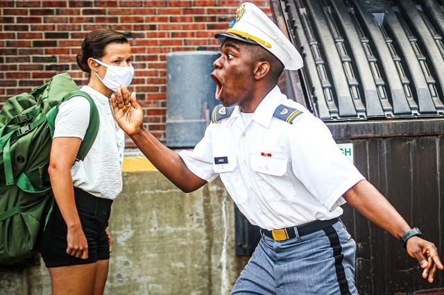 A U.S. Military Academy at West Point junior gives instruction to new cadets during Reception Day Sunday.   (Photo by Class of 2023 Cadet Hannah Lamb)