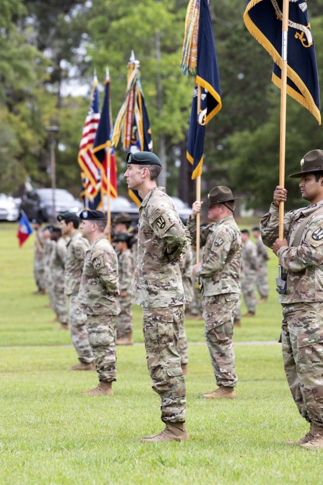 Lt. Col. Daniel Hayes, commander of 4th Battalion, 39th Infantry Regiment, stands along with other battalion commanders during the 165th Infantry Brigade change of command ceremony June 29 at Victory Field.