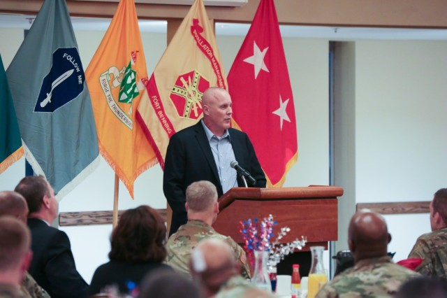 FORT BENNING, Ga. (Feb. 8, 2019) – Retired Col. Timothy Karcher speaks during a breakfast prayer event. The chaplains of the Maneuver Center of Excellence Religious Support Office hosted a special breakfast in observance of National Day of Prayer Feb. 8 at the Benning Club at Fort Benning, Georgia. Karcher spent nearly 26 years in the military. In 2009, during his third combat deployment, Karcher was leading a mounted patrol when his vehicle was struck by an explosive device, which penetrated the vehicle's armor and destroyed his legs. (U.S. Army photo by Markeith Horace, Maneuver Center of Excellence, Fort Benning Public Affairs)