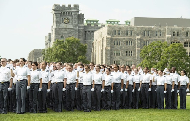 """""""I will maintain and defend the sovereignty of the United States paramount to any and all allegiance, sovereignty or fealty,"""" said by the more than 1,200 new cadets who made the pledge during the oath ceremony at the end of Reception Day Tuesday on The Plain."""