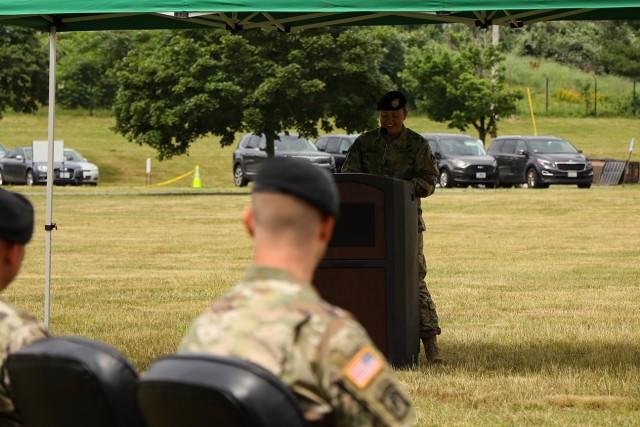 Garrison Command Sergeant Major Jamie Rogers speaks