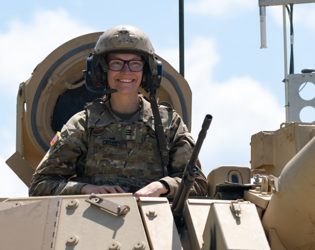Cadet Danielle Cross, a fourth-year cadet at the U.S. Military Academy at West Point, New York, and a Life Science major, is temporarily assigned to the 9th Brigade Engineer Battalion, 2nd ABCT, 3rd ID, as part of the annual Cadet Troop Leader Training and prepares to participate in an M2 Bradley Fighting Vehicle gunnery at Fort Stewart, Georgia, June 23, 2021. CTLT gives cadets from West Point and ROTC the opportunity to experience leadership and a day-in-the-life of Army second and first lieutenants in active-duty units every summer. (U.S. Army photo by Spc. Devron Bost)