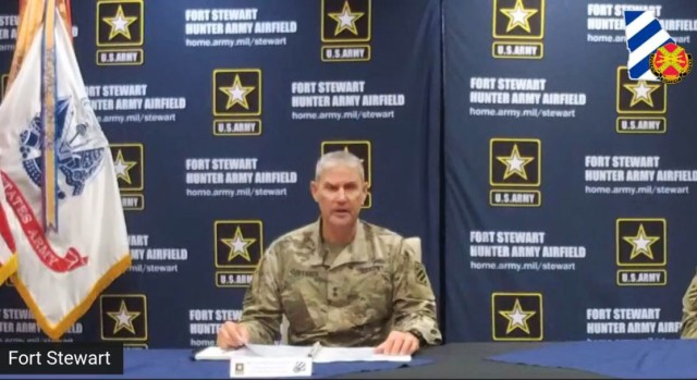 Fort Stewart-Hunter Army Airfield senior commander, Maj. Gen. Charles Costanza,  addresses the audience during a Facebook live town hall, June 30 on Fort Stewart.  The town hall served as an opportunity for him to introduce himself to the community and address important changes made to the installation's health protection level, updated guidelines for on-post visitors and the return to pre-COVID operations for many of the services offered on Fort Stewart-Hunter Army Airfield. (Screen capture)