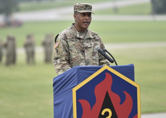 Col. Fredrick Parker took command of the 3rd Chemical Brigade in a ceremony July 8 on Gammon Field.