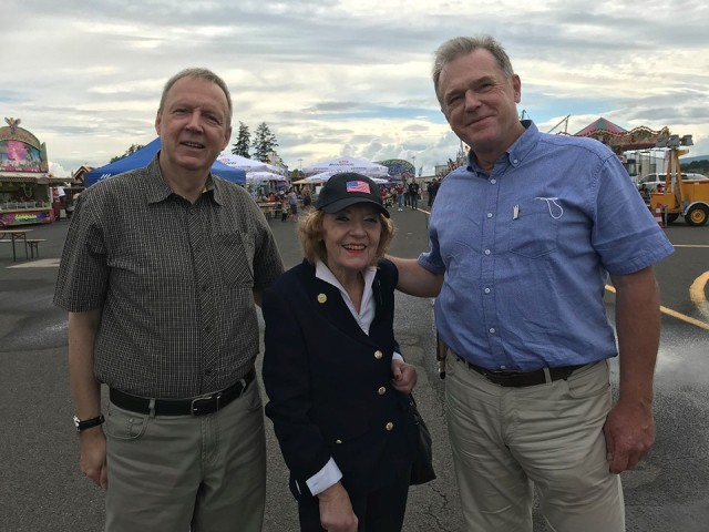 Berlin Airlift time witness, Vera Mitschrich with Michael Seidenberg and Klaus Bönning visited the US Army Garrison Wiesbaden July 4 celebration and enjoyed the fireworks.
