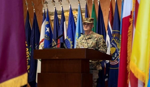 Col. Clint Murray speaks at his Relinquishment of Command Ceremony, July 8, 2021. Murray commanded WRAIR for roughly ten months, leaving early to accept promotion to brigadier general.