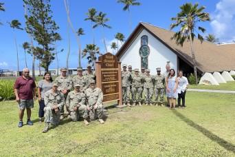 U.S. Naval Mobile Construction Battalion 4, Detail Marshall Islands, Installs Island Memorial Chapel Placard on U.S. Army Garrison-Kwajalein Atoll