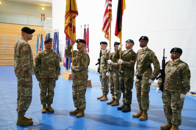 U.S. Army Garrison Bavaria officially welcomed Command Sgt. Maj. Sebastian A. Camacho, during an assumption of responsibility ceremony at the Tower Barracks Physical Fitness Center, July 9, 2021. (U.S. Army photo by Andreas Kreauzer / USAG Bavaria Public Affairs)