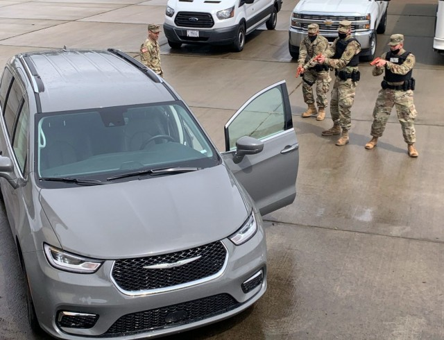 Washington National Guard Soldiers with the 506th Military Police train on a high-risk traffic stop as part of annual training June 14, 2021, at Camp Murray, Wash. The 506th Military Police focused this year on developing the skills of newer Soldiers. (Courtesy Photo)