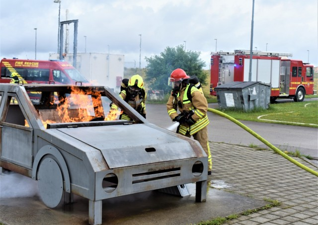 Master Sgt. Chris Wysong, a U.S. volunteer fire chief from a small town in Ohio, took the opportunity to train with his German counter parts at the IMCOM-E Fire Fighting Training Center while deployed with his National Guard unit to Ansbach, Germany, July 8, 2021.