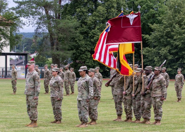 Soldiers stand in formation during a change of command ceremony where U.S. Army Lt. Col. Christina Buchner relinquished command of Troop Command, Landstuhl Regional Medical Center, to U.S. Army Lt. Col. Casey Wilson, at LRMC, July 1.