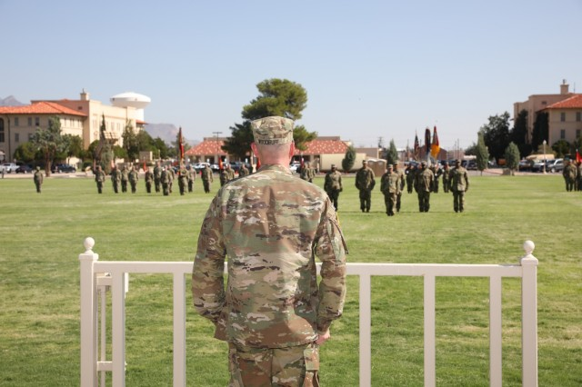 Col. Timothy Woodruff addresses 11th Air Defense Artillery Brigade for the first time as the Brigade's new commander. Col. John Dawber, commander, 11th Air Defense Artillery Brigade, relinquished command to Woodruff, July 9, 2021, on Noel Parade Field, Fort Bliss, Texas
