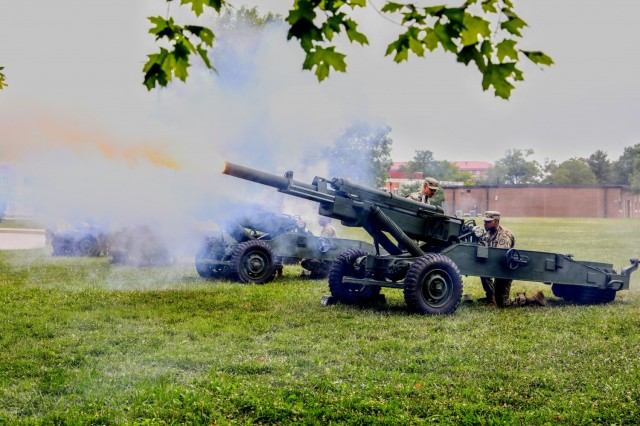 Soldiers of Bravo Battery, Field Artillery Squadron, 3rd Cavalry Regiment, led by 1st Lt. Nicole Walsh and Sgt. 1st Class Stephen Schultz, fire a 21-gun salute during the change of command between Maj. Gen. John P. Sullivan, outgoing commanding general, 1st Theater Sustainment Command, and Maj. Gen. Michel M. Russell Sr., incoming commanding general, 1st TSC, July 13, 2021 outside of Fowler Hall at Fort Knox, Kentucky.