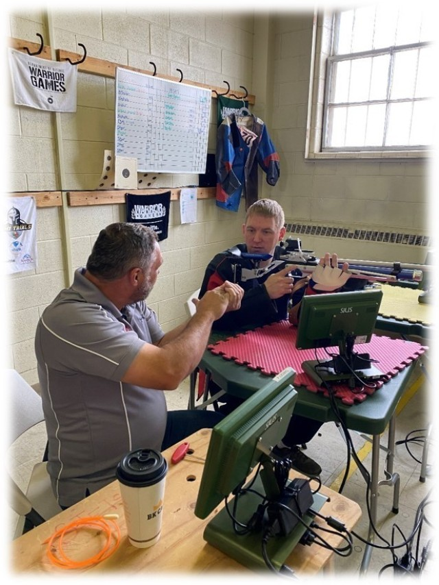 In May, Lt. Col. Kyle Eldridge, a Soldier assigned to the Fort Carson Soldier Recovery Unit, Colorado, trained with Bob McMullin, Army Warrior Games precision air sport rifle coach, in Colorado Springs. Eldridge will compete in the Department of Defense Warrior Games this fall in Orlando, Florida. (Photo courtesy of Marc Cattapan)