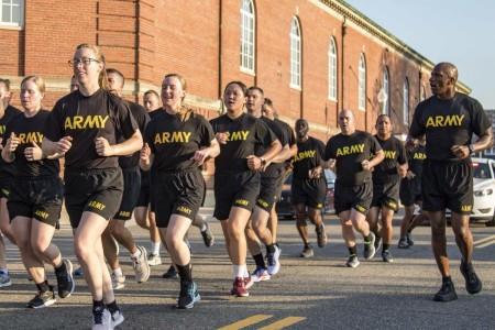 Soldiers assigned to the 3rd U.S. Infantry Regiment, known as 'The Old Guard,' participate in the U.S. Army Birthday Run at Joint Base Myer-Henderson Hall, Va., June 14, 2021.