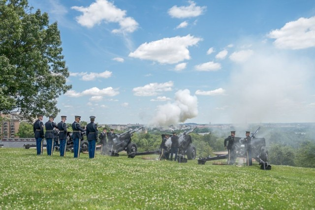 Before firing, Soldiers with the Presidential Salute Battery, 3d U.S. Infantry Regiment (The Old Guard), prepare M5, 75 mm antitank cannons.