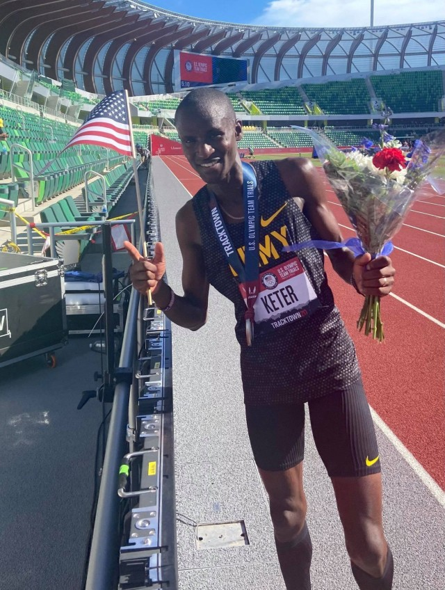 Spc. Benard Keter, a Soldier-athlete in the World Class Athlete Program, crossed the finish line of the men's 3,000-meter steeplechase with a time of 8:21.81 at the U.S. Track and Field Olympic Trials June 25, 2021, earning his spot to compete at the Summer Olympic Games in Tokyo.