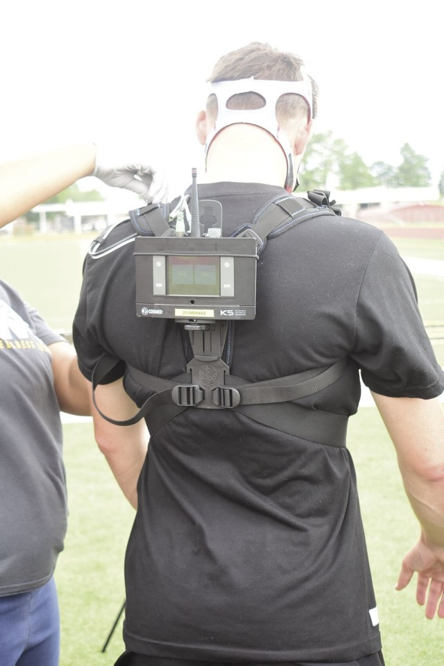 """The K5 portable VO2 unit allows Soldiers to measure how well their muscles use oxygen and can be used to optimize performance and train for events. """"This is the absolute newest technology,"""" said Jheri Godfrey, director, AWC, July 13. """"It allows us to do the testing outside and that's the biggest selling point. When the Soldiers are training or deploying, they are in an outdoor setting, so this technology allows us to test their abilities in that environment."""""""